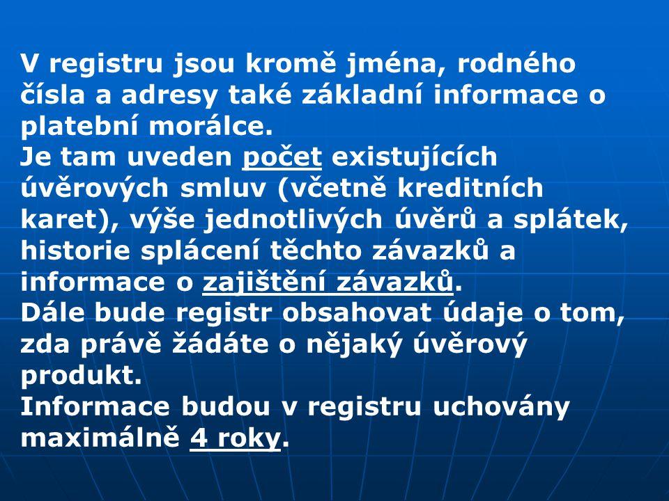 V registru jsou kromě jména, rodného čísla a adresy také základní informace o platební morálce. Je tam uveden počet existujících úvěrových smluv (včet