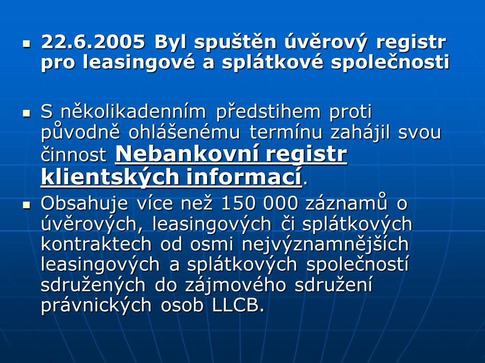 22.6.2005 Byl spuštěn úvěrový registr pro leasingové a splátkové společnosti 22.6.2005 Byl spuštěn úvěrový registr pro leasingové a splátkové společno