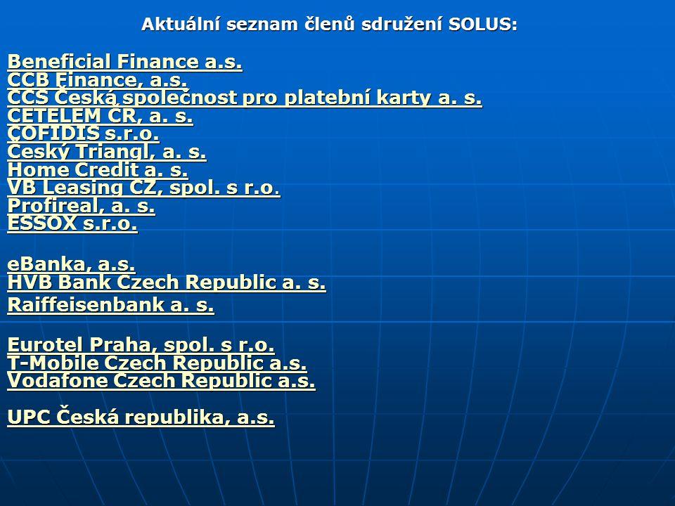 Aktuální seznam členů sdružení SOLUS: Beneficial Finance a.s. CCB Finance, a.s. CCS Česká společnost pro platební karty a. s. CETELEM ČR, a. s. COFIDI