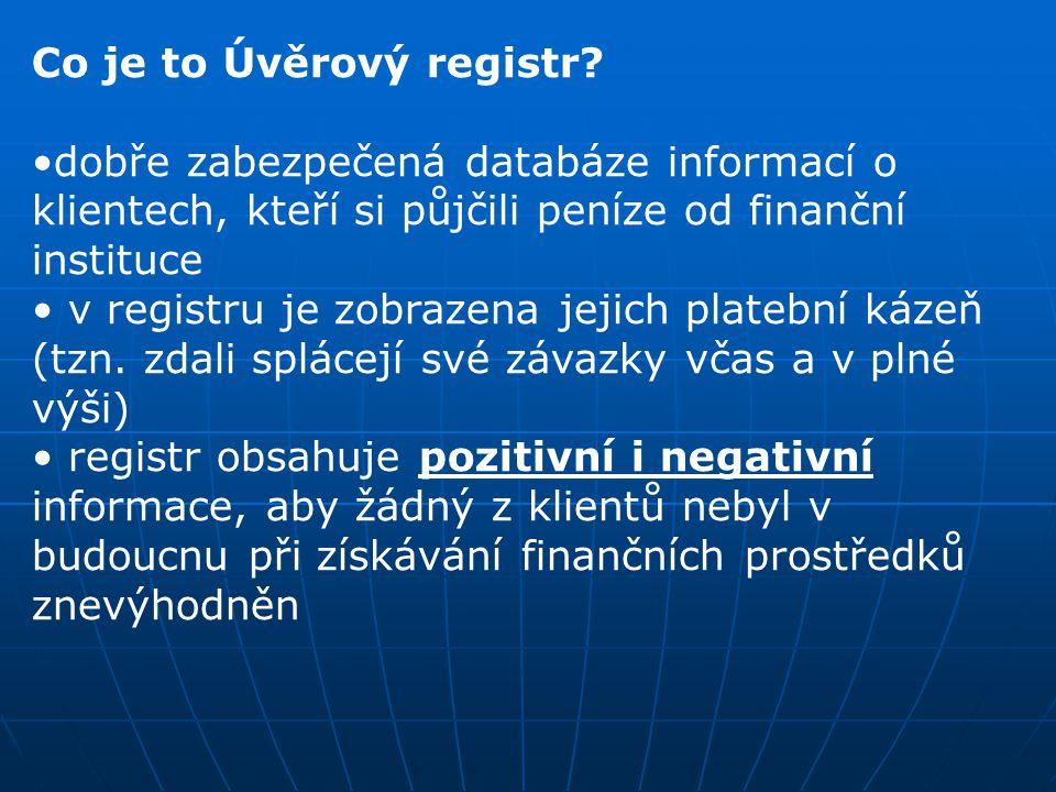 Co je to Úvěrový registr? dobře zabezpečená databáze informací o klientech, kteří si půjčili peníze od finanční instituce v registru je zobrazena jeji