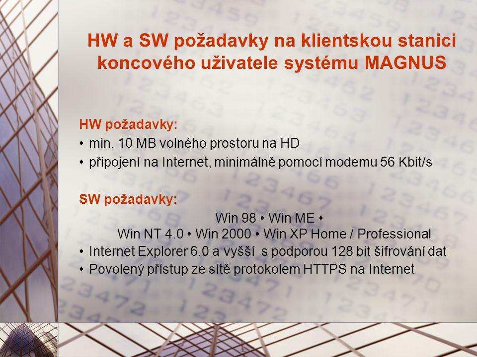 HW a SW požadavky na klientskou stanici koncového uživatele systému MAGNUS HW požadavky: min.