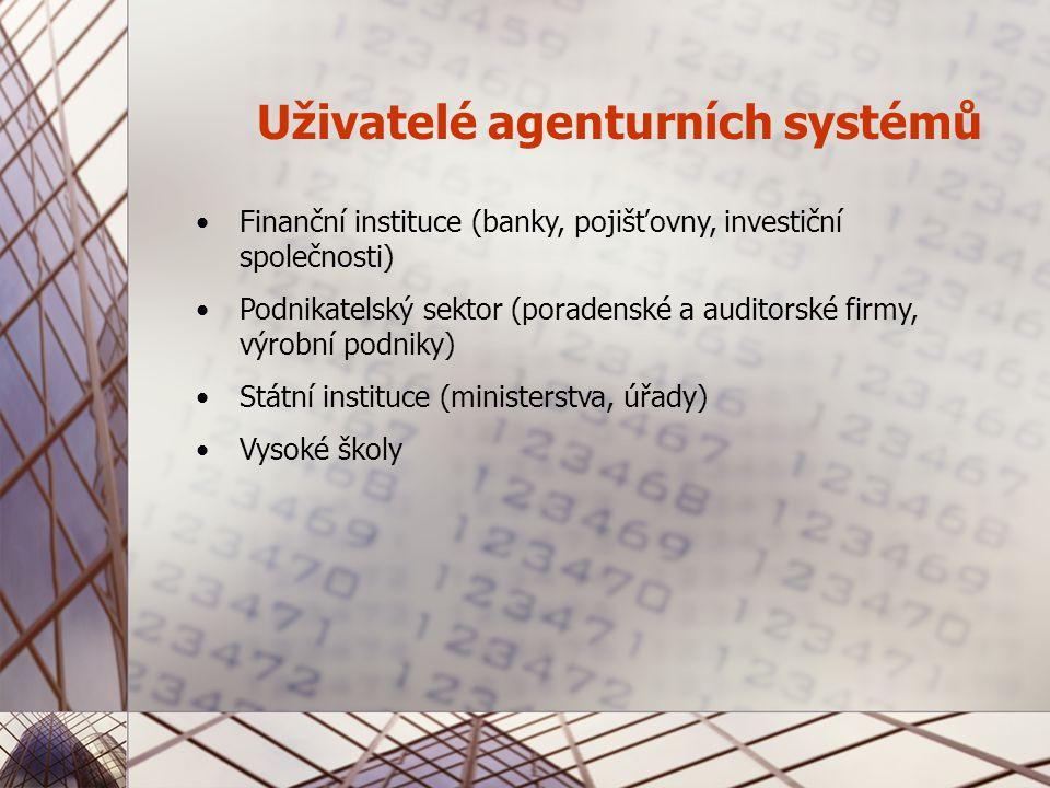 Uživatelé agenturních systémů Finanční instituce (banky, pojišťovny, investiční společnosti) Podnikatelský sektor (poradenské a auditorské firmy, výrobní podniky) Státní instituce (ministerstva, úřady) Vysoké školy