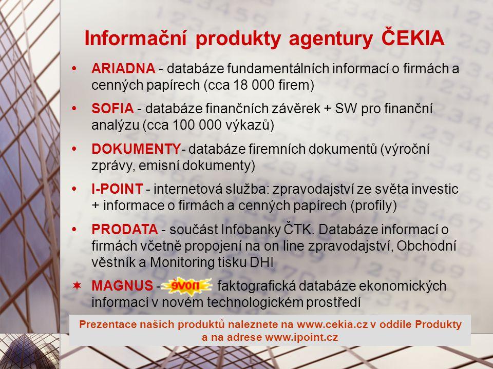 Informační produkty agentury ČEKIA  ARIADNA - databáze fundamentálních informací o firmách a cenných papírech (cca 18 000 firem)  SOFIA - databáze finančních závěrek + SW pro finanční analýzu (cca 100 000 výkazů)  DOKUMENTY- databáze firemních dokumentů (výroční zprávy, emisní dokumenty)  I-POINT - internetová služba: zpravodajství ze světa investic + informace o firmách a cenných papírech (profily)  PRODATA - součást Infobanky ČTK.