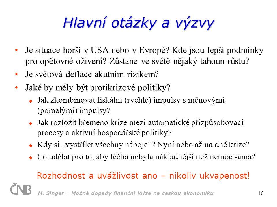 M. Singer – Možné dopady finanční krize na českou ekonomiku 10 Hlavní otázky a výzvy Je situace horší v USA nebo v Evropě? Kde jsou lepší podmínky pro