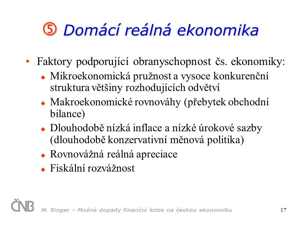 M. Singer – Možné dopady finanční krize na českou ekonomiku 17  Domácí reálná ekonomika Faktory podporující obranyschopnost čs. ekonomiky:  Mikroeko