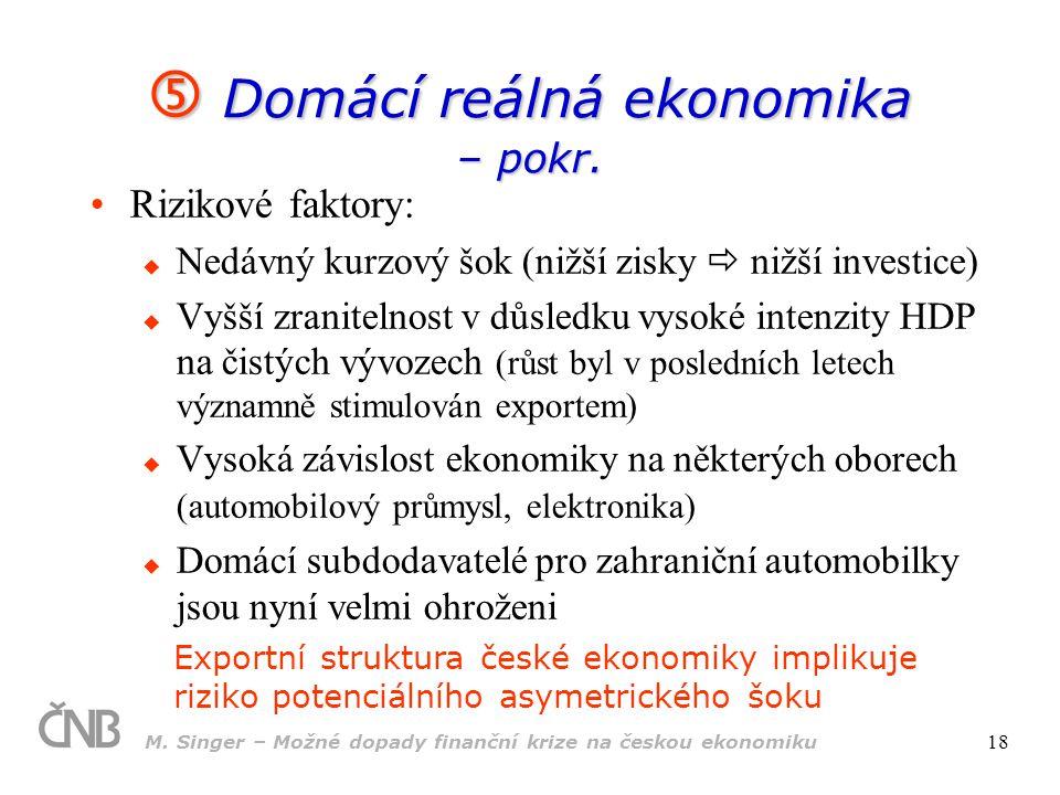 M. Singer – Možné dopady finanční krize na českou ekonomiku 18 Rizikové faktory:  Nedávný kurzový šok (nižší zisky  nižší investice)  Vyšší zranite