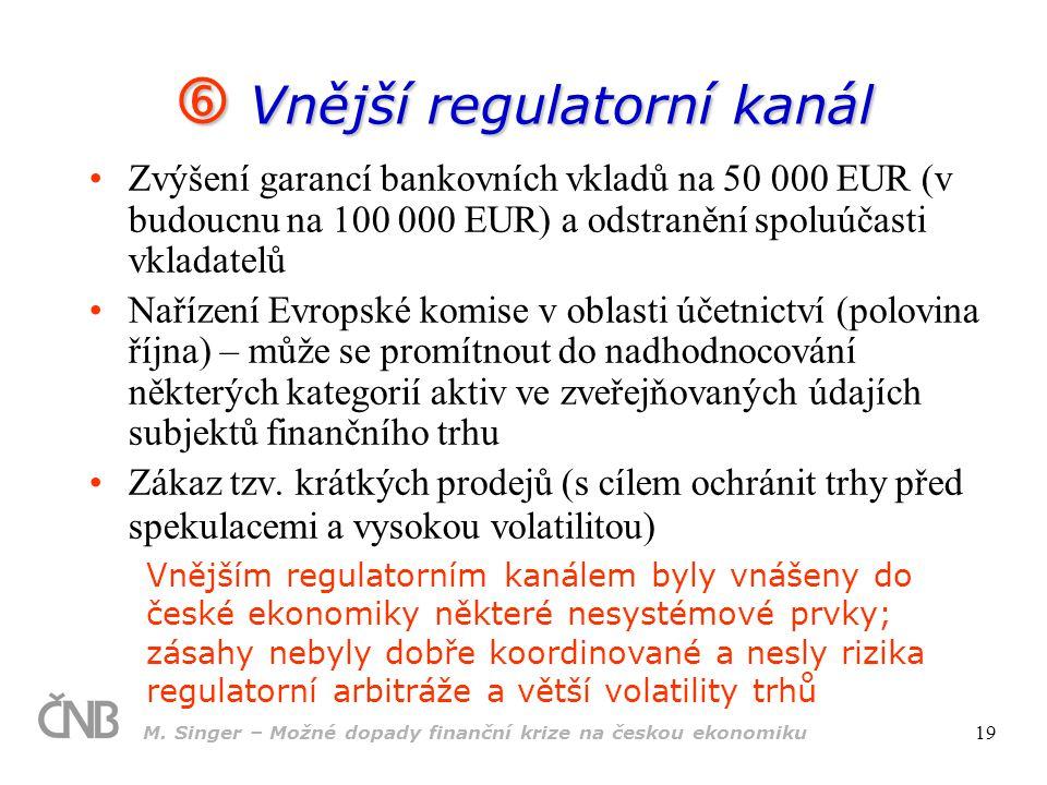 M. Singer – Možné dopady finanční krize na českou ekonomiku 19  Vnější regulatorní kanál Zvýšení garancí bankovních vkladů na 50 000 EUR (v budoucnu