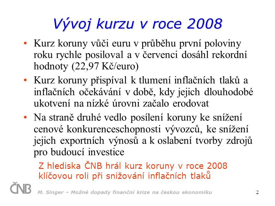 M. Singer – Možné dopady finanční krize na českou ekonomiku 2 Vývoj kurzu v roce 2008 Kurz koruny vůči euru v průběhu první poloviny roku rychle posil