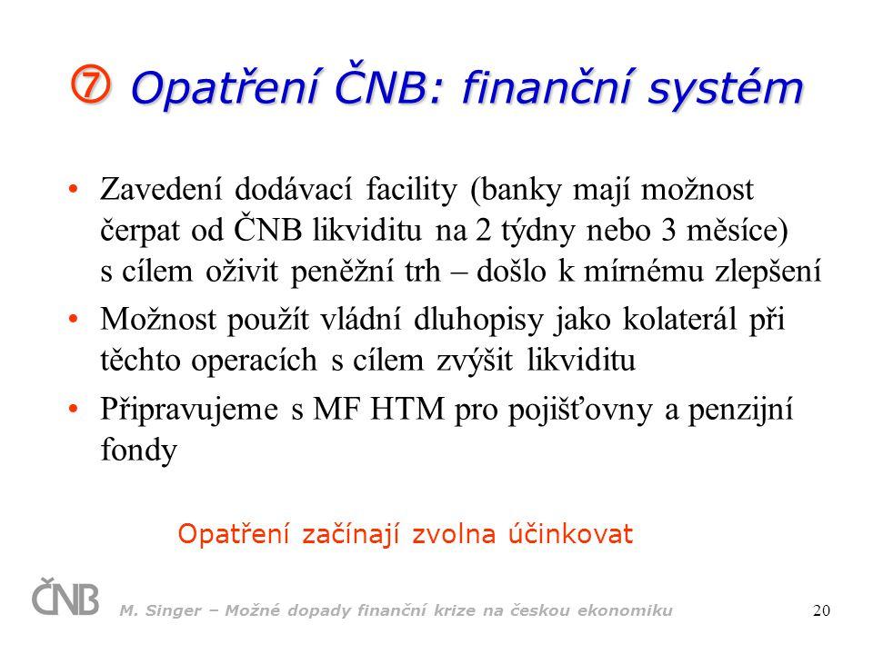 M. Singer – Možné dopady finanční krize na českou ekonomiku 20  Opatření ČNB: finanční systém Zavedení dodávací facility (banky mají možnost čerpat o