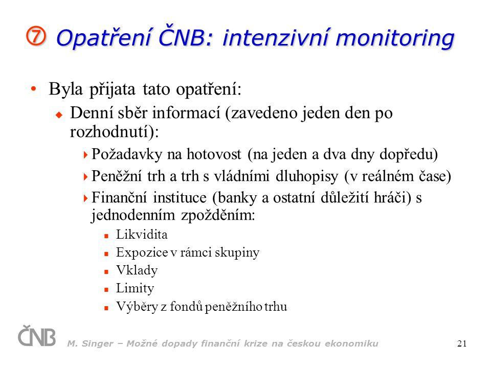 M. Singer – Možné dopady finanční krize na českou ekonomiku 21  Opatření ČNB: intenzivní monitoring Byla přijata tato opatření:  Denní sběr informac