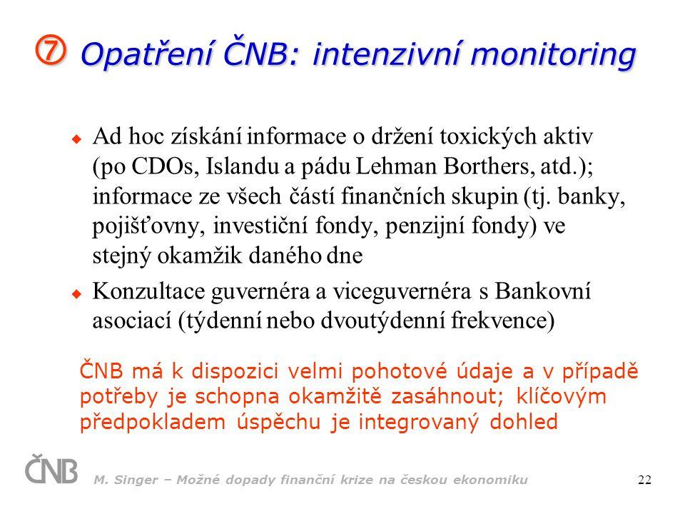 M. Singer – Možné dopady finanční krize na českou ekonomiku 22  Ad hoc získání informace o držení toxických aktiv (po CDOs, Islandu a pádu Lehman Bor