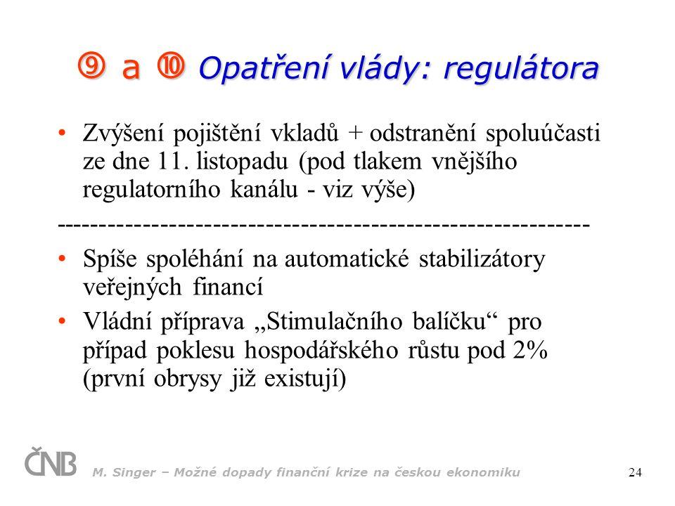 M. Singer – Možné dopady finanční krize na českou ekonomiku 24  a  Opatření vlády: regulátora Zvýšení pojištění vkladů + odstranění spoluúčasti ze d