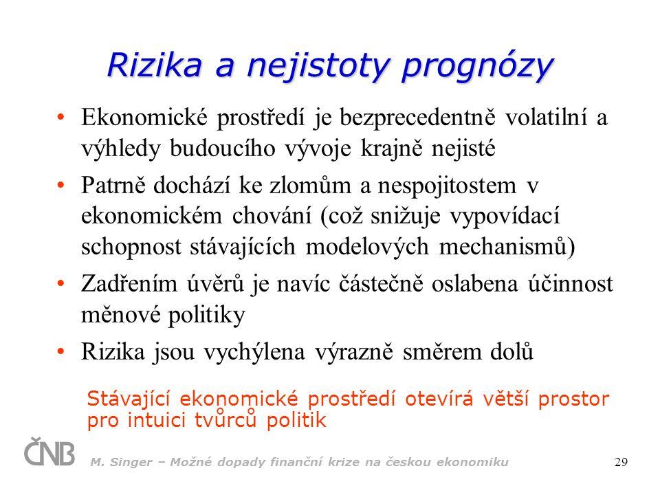 M. Singer – Možné dopady finanční krize na českou ekonomiku 29 Rizika a nejistoty prognózy Ekonomické prostředí je bezprecedentně volatilní a výhledy