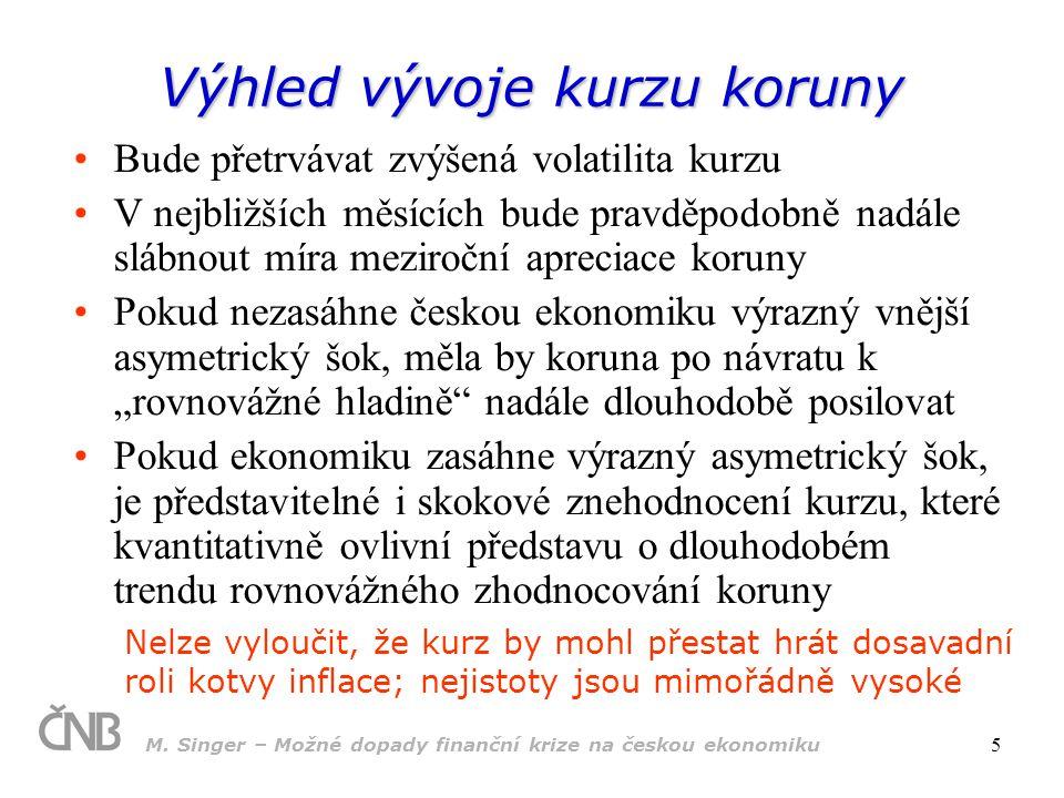 M. Singer – Možné dopady finanční krize na českou ekonomiku 5 Výhled vývoje kurzu koruny Bude přetrvávat zvýšená volatilita kurzu V nejbližších měsící