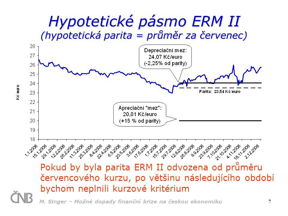 M. Singer – Možné dopady finanční krize na českou ekonomiku 7 Hypotetické pásmo ERM II (hypotetická parita = průměr za červenec) Pokud by byla parita