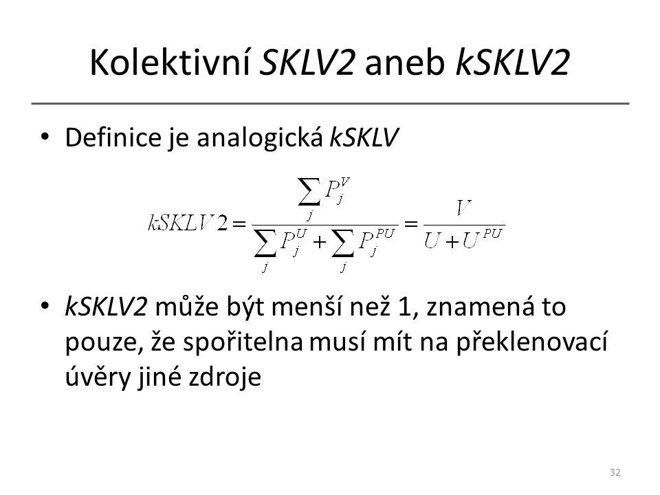 Kolektivní SKLV2 aneb kSKLV2 Definice je analogická kSKLV kSKLV2 může být menší než 1, znamená to pouze, že spořitelna musí mít na překlenovací úvěry jiné zdroje 32