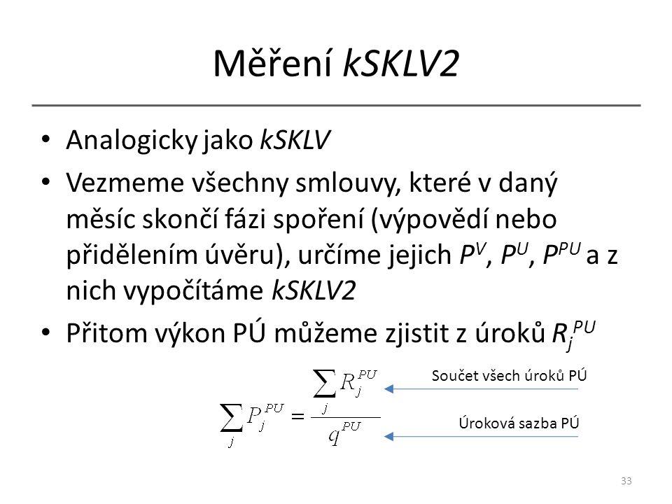 Měření kSKLV2 Analogicky jako kSKLV Vezmeme všechny smlouvy, které v daný měsíc skončí fázi spoření (výpovědí nebo přidělením úvěru), určíme jejich P V, P U, P PU a z nich vypočítáme kSKLV2 Přitom výkon PÚ můžeme zjistit z úroků R j PU 33 Součet všech úroků PÚ Úroková sazba PÚ