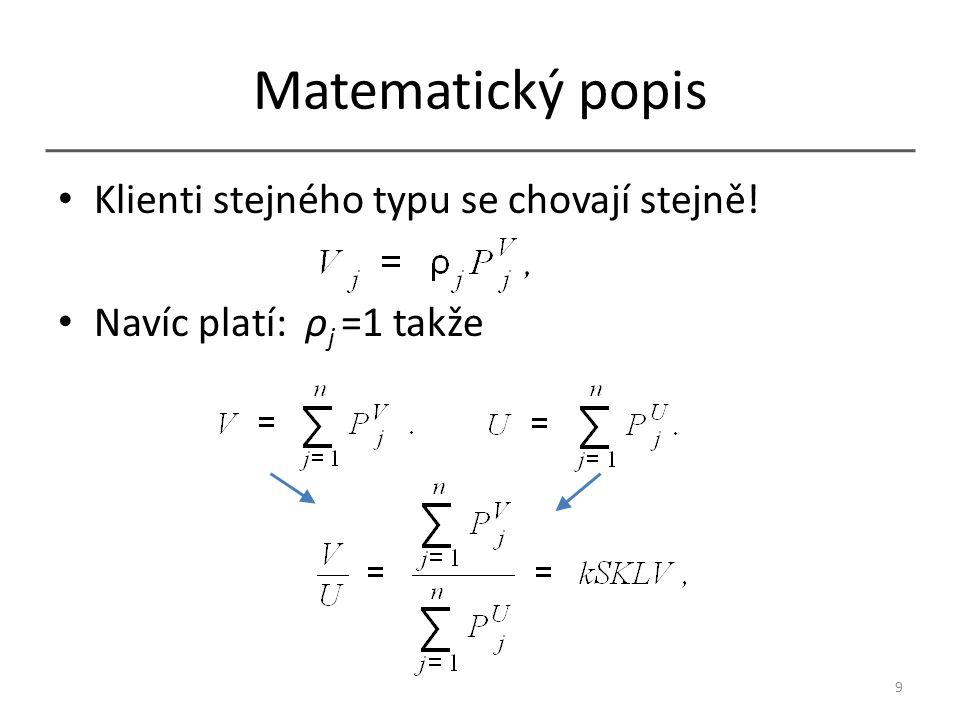Matematický popis Klienti stejného typu se chovají stejně! Navíc platí: ρ j =1 takže 9