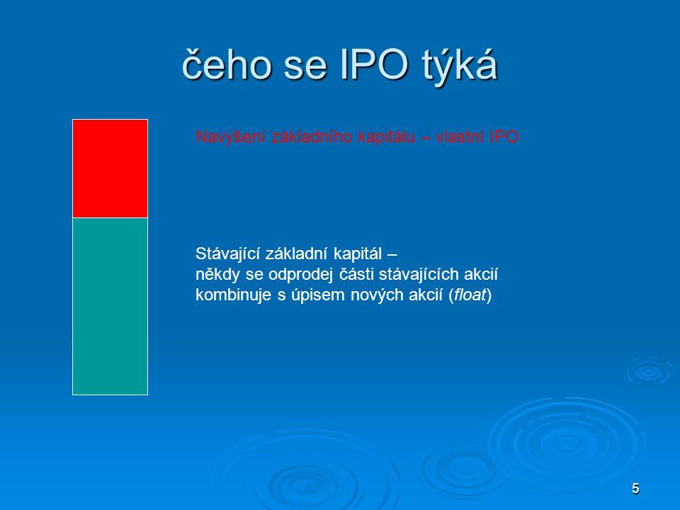 5 čeho se IPO týká Navýšení základního kapitálu – vlastní IPO Stávající základní kapitál – někdy se odprodej části stávajících akcií kombinuje s úpisem nových akcií (float)