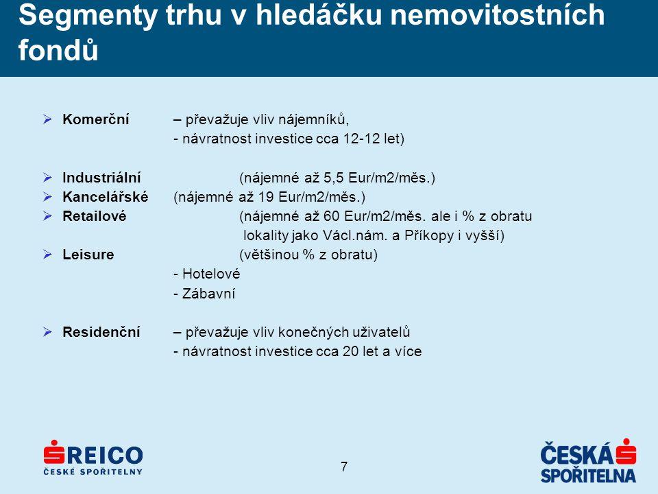 7 Segmenty trhu v hledáčku nemovitostních fondů  Komerční – převažuje vliv nájemníků, - návratnost investice cca 12-12 let)  Industriální(nájemné až 5,5 Eur/m2/měs.)  Kancelářské(nájemné až 19 Eur/m2/měs.)  Retailové(nájemné až 60 Eur/m2/měs.