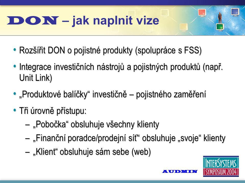 DON – jak naplnit vize Rozšířit DON o pojistné produkty (spolupráce s FSS) Rozšířit DON o pojistné produkty (spolupráce s FSS) Integrace investičních nástrojů a pojistných produktů (např.