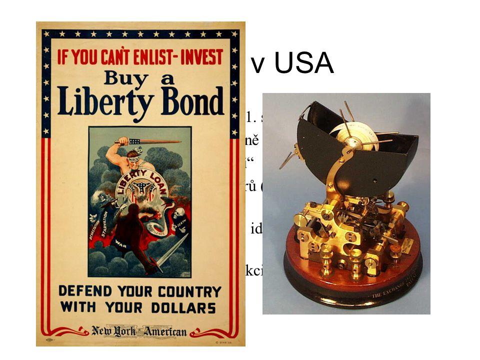 """20. léta v USA USA ekonomickým vítězem 1. světové války Růst průmyslu a životní úrovně """"Nakup teď, zaplať později"""" Expanze burzy cenných papírů (akcie"""