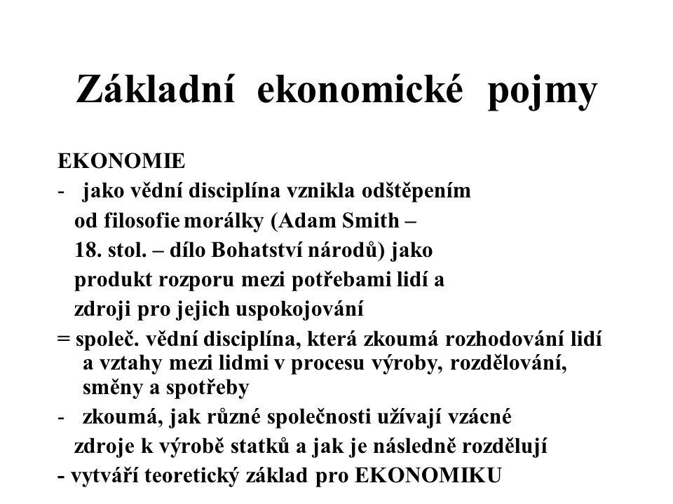 Základní ekonomické pojmy EKONOMIE -jako vědní disciplína vznikla odštěpením od filosofie morálky (Adam Smith – 18. stol. – dílo Bohatství národů) jak