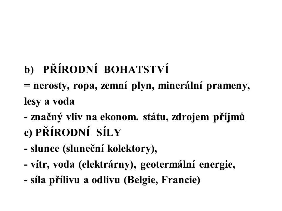 b)PŘÍRODNÍ BOHATSTVÍ = nerosty, ropa, zemní plyn, minerální prameny, lesy a voda - značný vliv na ekonom.