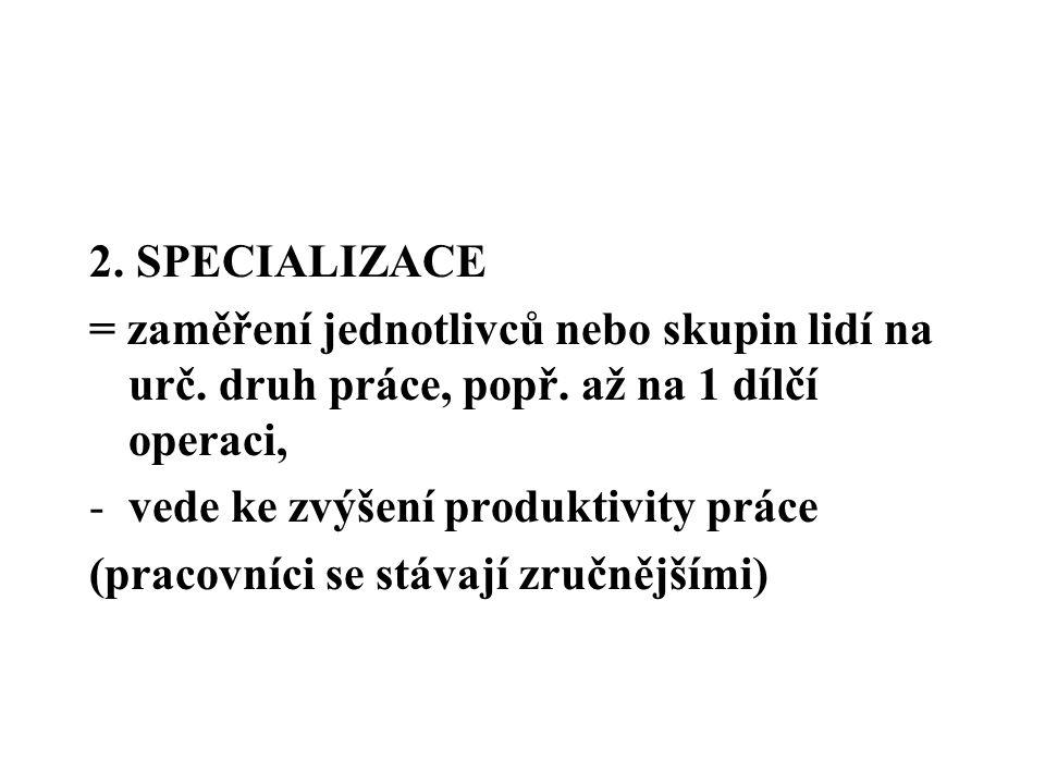2. SPECIALIZACE = zaměření jednotlivců nebo skupin lidí na urč. druh práce, popř. až na 1 dílčí operaci, -vede ke zvýšení produktivity práce (pracovní