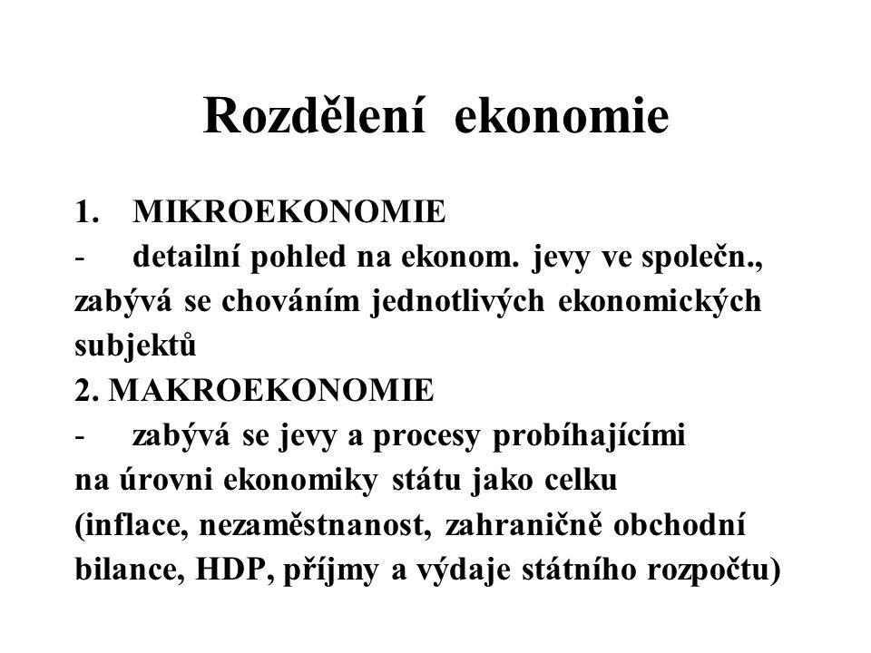 Rozdělení ekonomie 1.MIKROEKONOMIE -detailní pohled na ekonom. jevy ve společn., zabývá se chováním jednotlivých ekonomických subjektů 2. MAKROEKONOMI