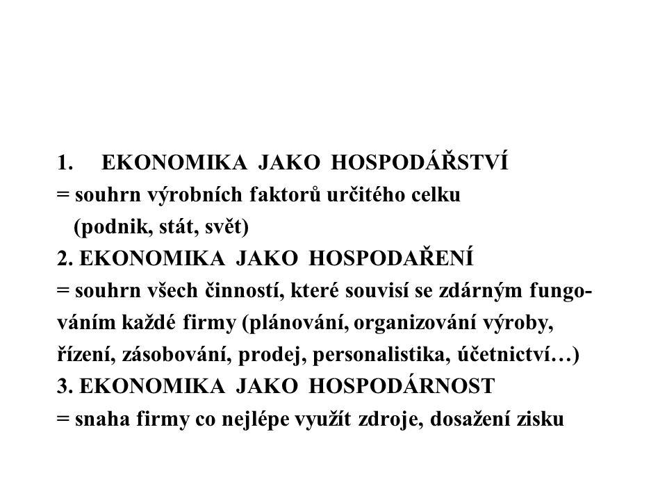 1.EKONOMIKA JAKO HOSPODÁŘSTVÍ = souhrn výrobních faktorů určitého celku (podnik, stát, svět) 2. EKONOMIKA JAKO HOSPODAŘENÍ = souhrn všech činností, kt