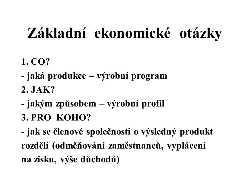 Základní ekonomické otázky 1. CO? - jaká produkce – výrobní program 2. JAK? - jakým způsobem – výrobní profil 3. PRO KOHO? - jak se členové společnost