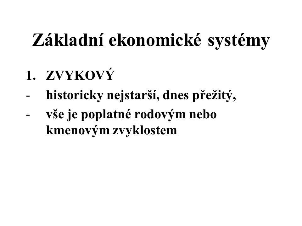 Základní ekonomické systémy 1.ZVYKOVÝ -historicky nejstarší, dnes přežitý, -vše je poplatné rodovým nebo kmenovým zvyklostem