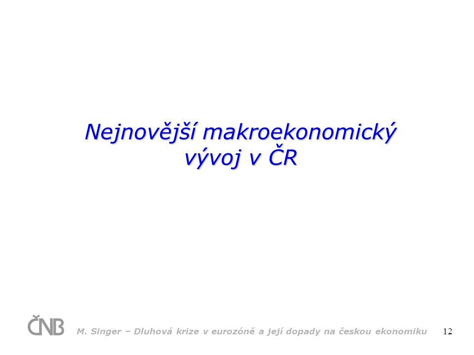 M. Singer – Dluhová krize v eurozóně a její dopady na českou ekonomiku 12 Nejnovější makroekonomický vývoj v ČR