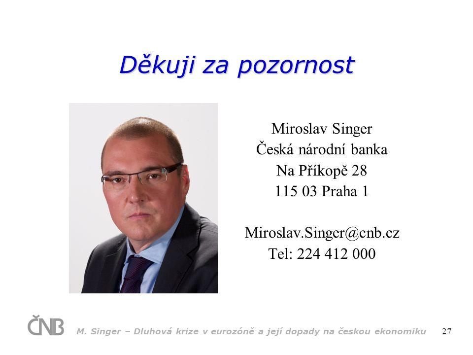 M. Singer – Dluhová krize v eurozóně a její dopady na českou ekonomiku 27 Děkuji za pozornost Miroslav Singer Česká národní banka Na Příkopě 28 115 03