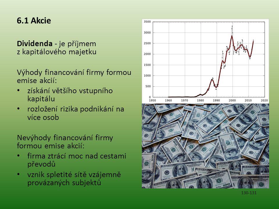 6.1 Akcie Dividenda - je příjmem z kapitálového majetku Výhody financování firmy formou emise akcií: získání většího vstupního kapitálu rozložení rizi