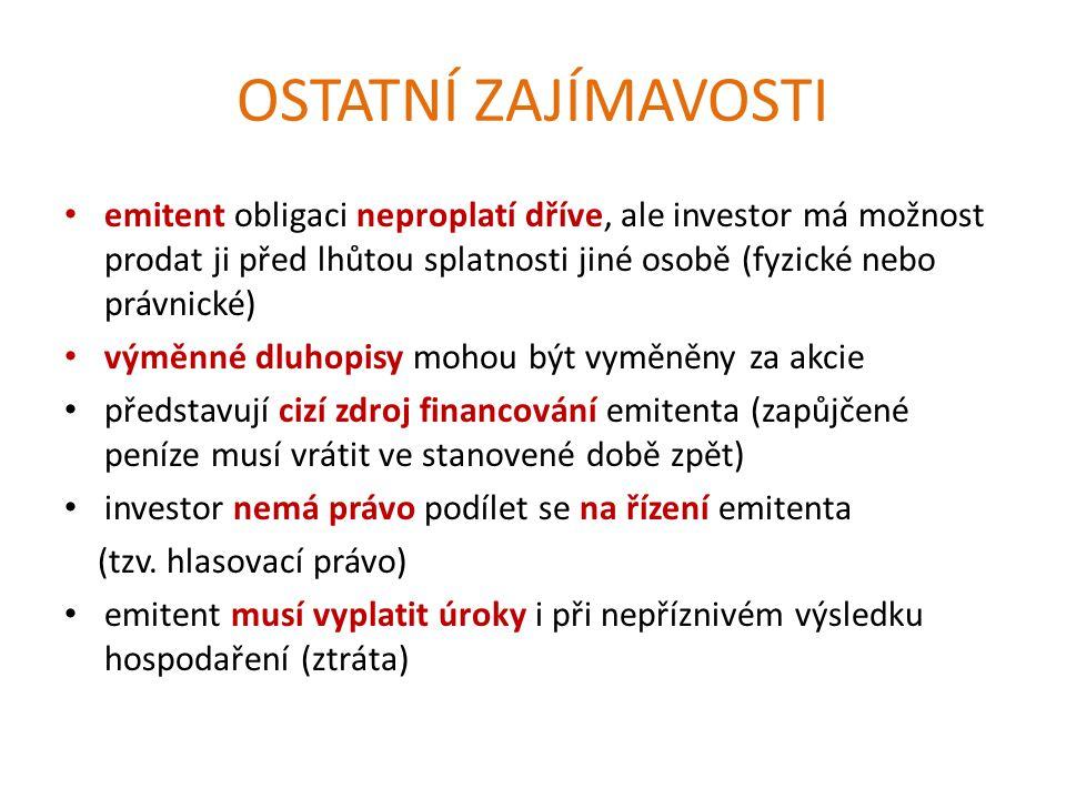 OSTATNÍ ZAJÍMAVOSTI emitent obligaci neproplatí dříve, ale investor má možnost prodat ji před lhůtou splatnosti jiné osobě (fyzické nebo právnické) výměnné dluhopisy mohou být vyměněny za akcie představují cizí zdroj financování emitenta (zapůjčené peníze musí vrátit ve stanovené době zpět) investor nemá právo podílet se na řízení emitenta (tzv.