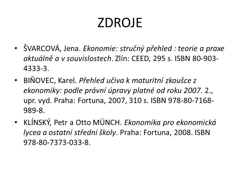 ZDROJE ŠVARCOVÁ, Jena. Ekonomie: stručný přehled : teorie a praxe aktuálně a v souvislostech. Zlín: CEED, 295 s. ISBN 80-903- 4333-3. BIŇOVEC, Karel.