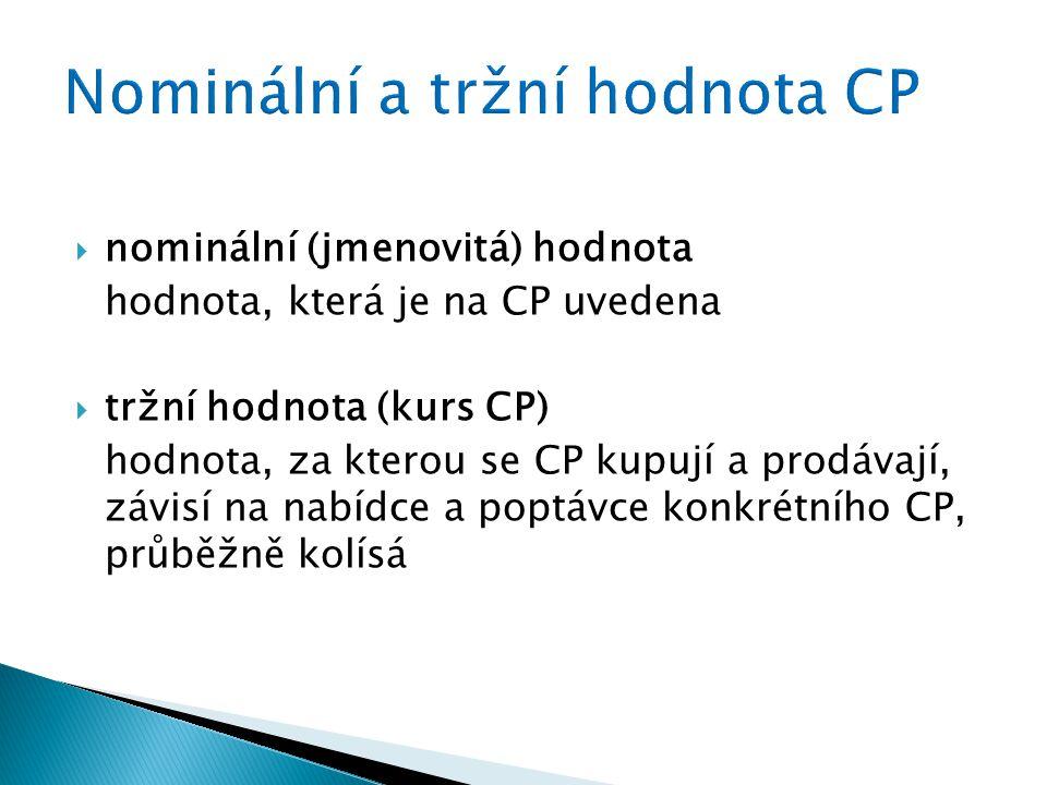 nominální (jmenovitá) hodnota hodnota, která je na CP uvedena  tržní hodnota (kurs CP) hodnota, za kterou se CP kupují a prodávají, závisí na nabídce a poptávce konkrétního CP, průběžně kolísá