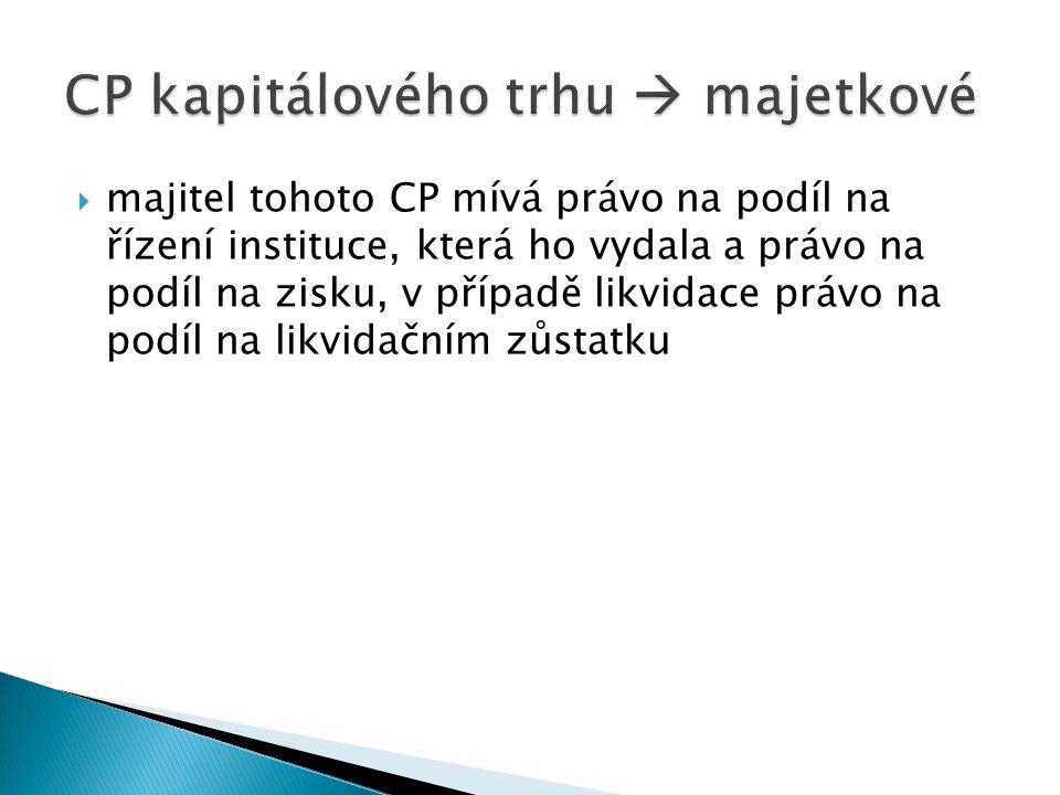  majitel tohoto CP mívá právo na podíl na řízení instituce, která ho vydala a právo na podíl na zisku, v případě likvidace právo na podíl na likvidačním zůstatku
