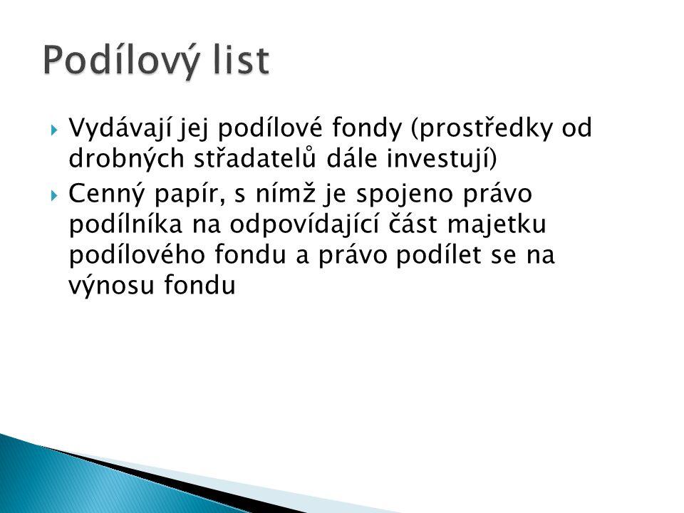  Vydávají jej podílové fondy (prostředky od drobných střadatelů dále investují)  Cenný papír, s nímž je spojeno právo podílníka na odpovídající část majetku podílového fondu a právo podílet se na výnosu fondu