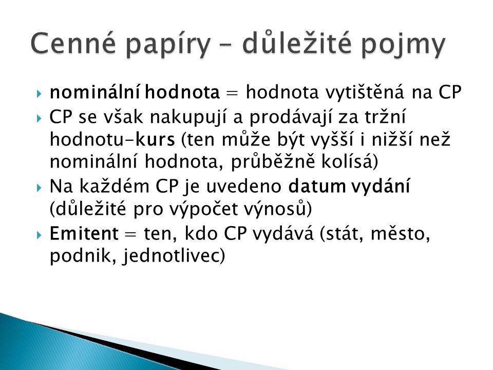  nominální hodnota = hodnota vytištěná na CP  CP se však nakupují a prodávají za tržní hodnotu-kurs (ten může být vyšší i nižší než nominální hodnota, průběžně kolísá)  Na každém CP je uvedeno datum vydání (důležité pro výpočet výnosů)  Emitent = ten, kdo CP vydává (stát, město, podnik, jednotlivec)