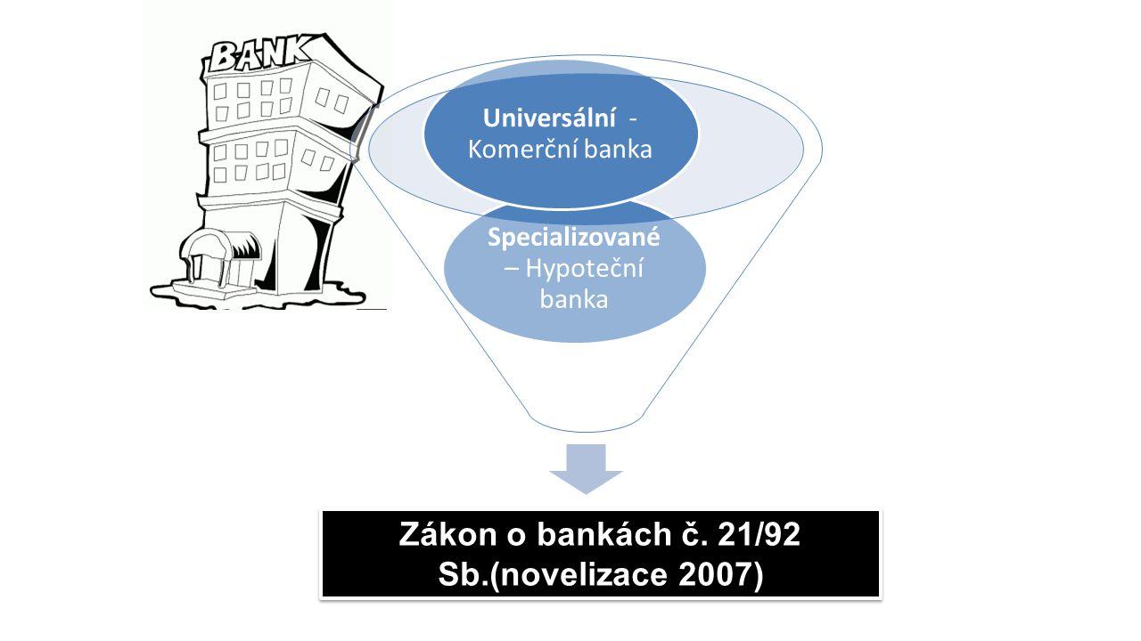 Banky Specializované – Hypoteční banka Universální - Komerční banka Zákon o bankách č. 21/92 Sb.(novelizace 2007)
