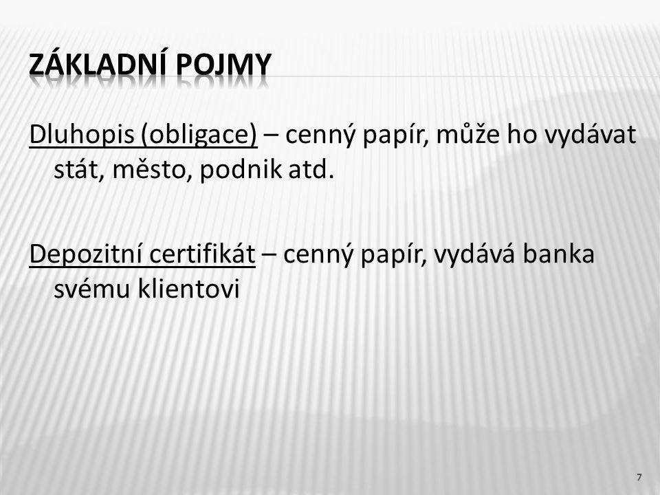 Dluhopis (obligace) – cenný papír, může ho vydávat stát, město, podnik atd. Depozitní certifikát – cenný papír, vydává banka svému klientovi 7