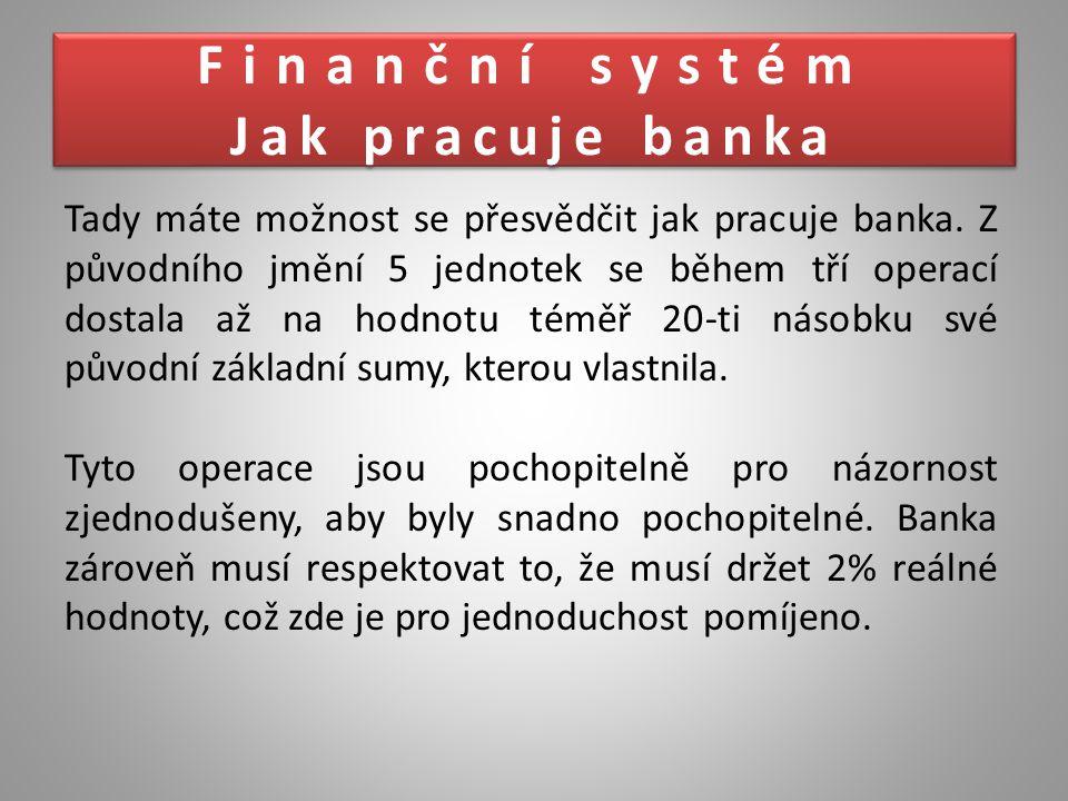 Tady máte možnost se přesvědčit jak pracuje banka. Z původního jmění 5 jednotek se během tří operací dostala až na hodnotu téměř 20-ti násobku své pův