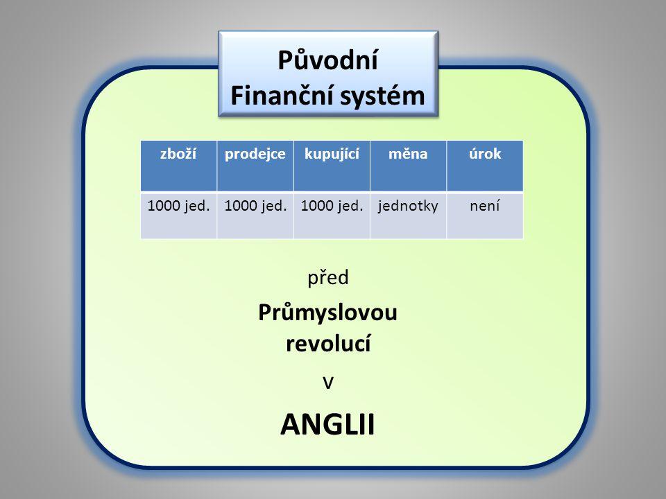 zbožíprodejcekupujícíměnaúrok 1000 jed. jednotkynení před Průmyslovou revolucí v ANGLII Původní Finanční systém