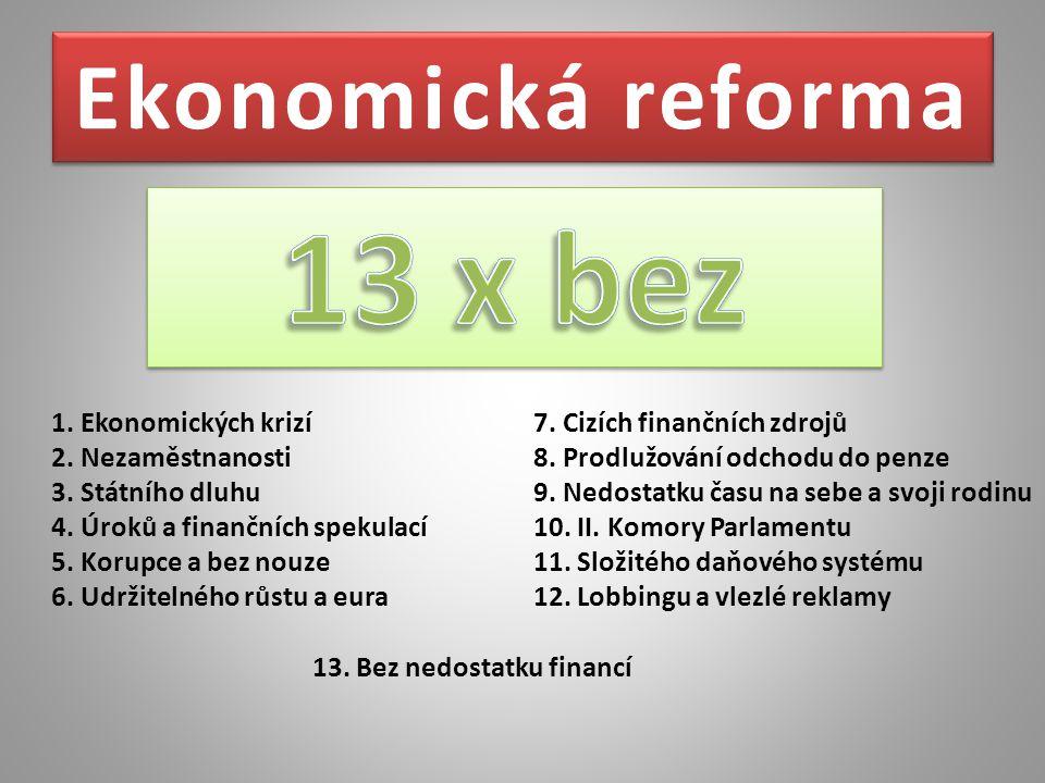 Ekonomická reforma 1. Ekonomických krizí 2. Nezaměstnanosti 3. Státního dluhu 4. Úroků a finančních spekulací 5. Korupce a bez nouze 6. Udržitelného r