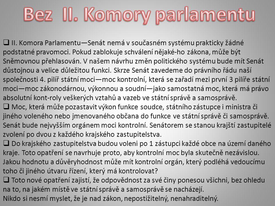  II. Komora Parlamentu—Senát nemá v současném systému prakticky žádné podstatné pravomoci.