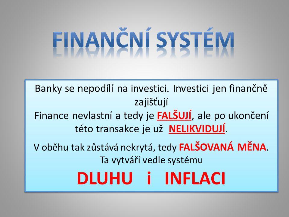 Banky se nepodílí na investici. Investici jen finančně zajišťují Finance nevlastní a tedy je FALŠUJÍ, ale po ukončení této transakce je už NELIKVIDUJÍ