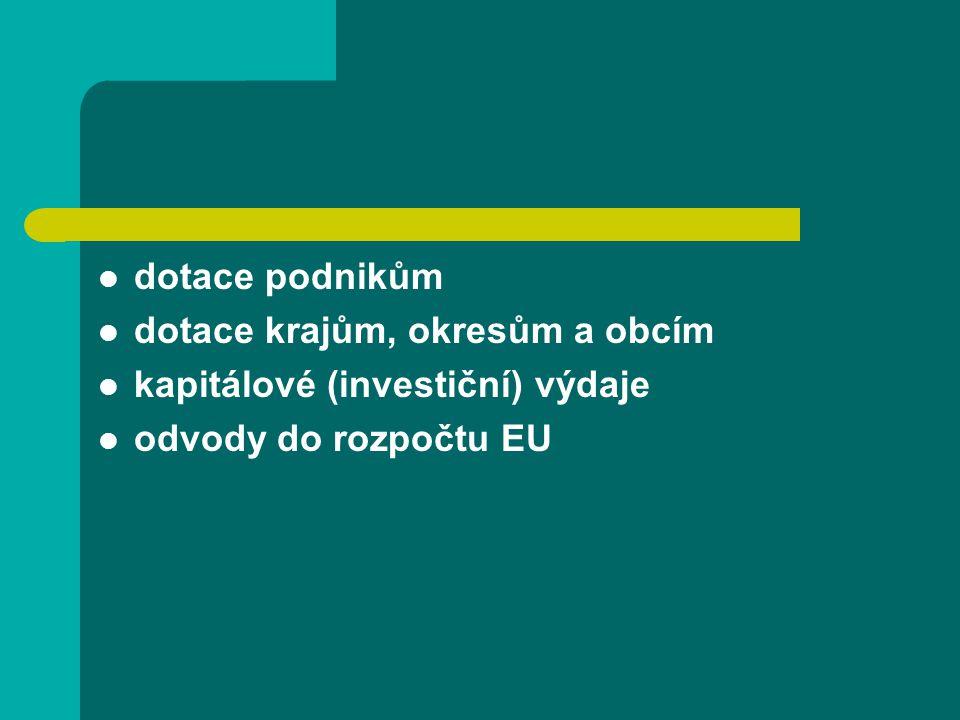 dotace podnikům dotace krajům, okresům a obcím kapitálové (investiční) výdaje odvody do rozpočtu EU